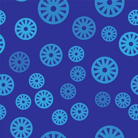 Blue Old wooden wheel icon isolated seamless pattern on blue background. Vector Illustration
