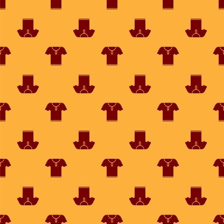 Red Body armor icon isolated seamless pattern on brown background. Vector Illustration