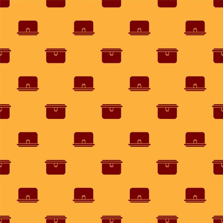 Red Lunch box icon isolated seamless pattern on brown background. Vector Illustration