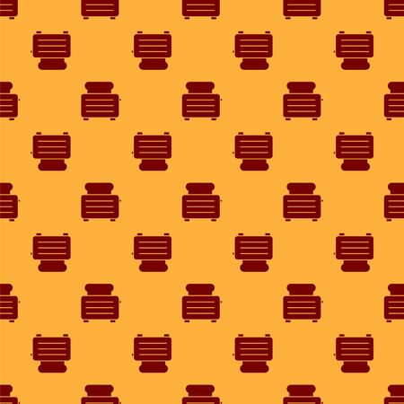 Red Toaster with toasts icon isolated seamless pattern on brown background. Vector Illustration