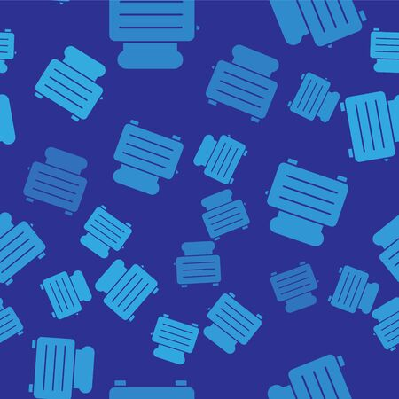 Blue Toaster with toasts icon isolated seamless pattern on blue background. Vector Illustration