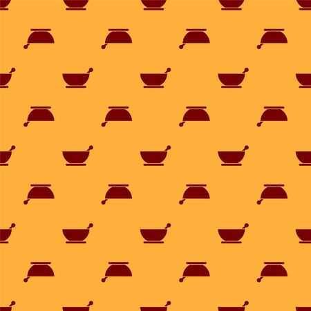Red Mortar and pestle icon isolated seamless pattern on brown background. Vector Illustration