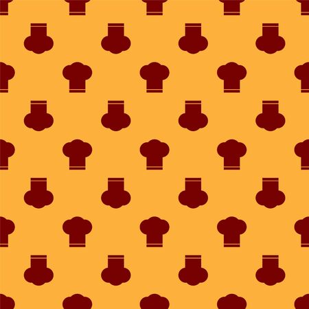 Red Chef hat icon isolated seamless pattern on brown background. Cooking symbol. Cooks hat. Vector Illustration