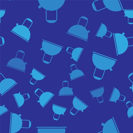 Blue Kettle with handle icon isolated seamless pattern on blue background. Teapot icon. Vector Illustration