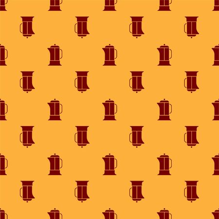 Red French press icon isolated seamless pattern on brown background. Vector Illustration