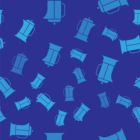 Blue French press icon isolated seamless pattern on blue background. Vector Illustration