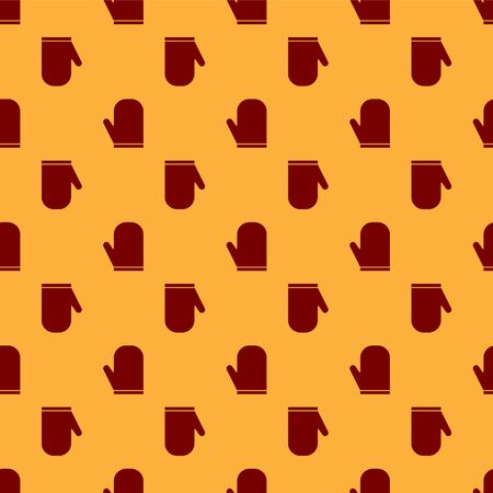 Red Oven glove icon isolated seamless pattern on brown background. Kitchen potholder sign. Cooking glove. Vector Illustration