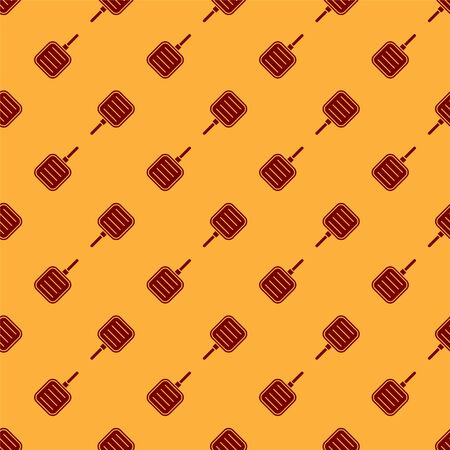 Red Frying pan icon isolated seamless pattern on brown background. Fry or roast food symbol. Vector Illustration 向量圖像
