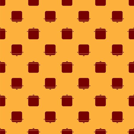 Red Cooking pot icon isolated seamless pattern on brown background. Boil or stew food symbol. Vector Illustration