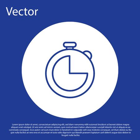 Blue line Kitchen timer icon isolated on blue background. Cooking utensil. White circle button. Vector Illustration
