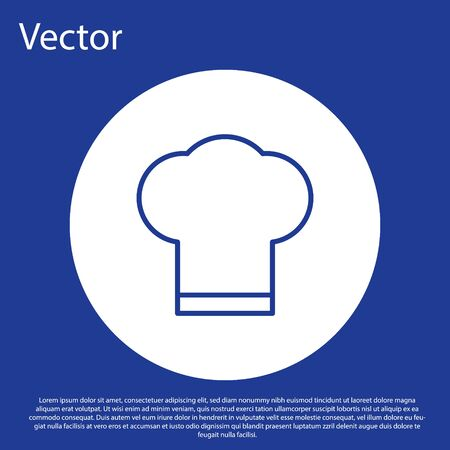 Blue line Chef hat icon isolated on blue background. Cooking symbol. Cooks hat. White circle button. Vector Illustration