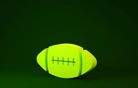 Yellow American Football ball icon isolated on green background. Minimalism concept. 3d illustration 3D render