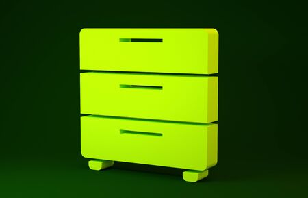 Yellow Furniture nightstand icon isolated on green background. Minimalism concept. 3d illustration 3D render