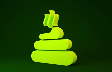 Yellow Shit icon isolated on green background. Minimalism concept. 3d illustration 3D render