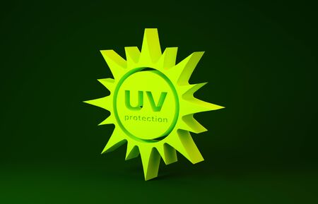 Yellow UV protection icon isolated on green background. Ultra violet rays radiation. SPF sun sign. Minimalism concept. 3d illustration 3D render