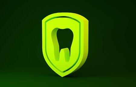 Yellow Dental protection icon isolated on green background. Tooth on shield logo icon. Minimalism concept. 3d illustration 3D render