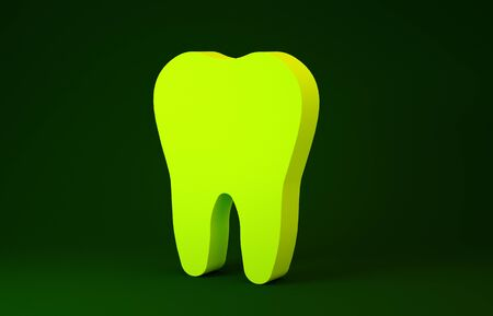 Yellow Tooth icon isolated on green background. Tooth symbol for dentistry clinic or dentist medical center and toothpaste package. Minimalism concept. 3d illustration 3D render