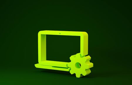 Yellow Laptop and gear icon isolated on green background. Laptop service concept. Adjusting, service, setting, maintenance, repair, fixing. Minimalism concept. 3d illustration 3D render