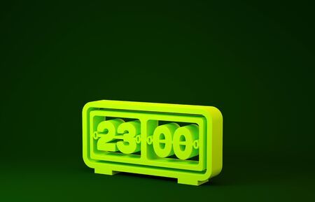 Yellow Retro flip clock icon isolated on green background. Wall flap clock, number counter template, all digits with flips. Minimalism concept. 3d illustration 3D render