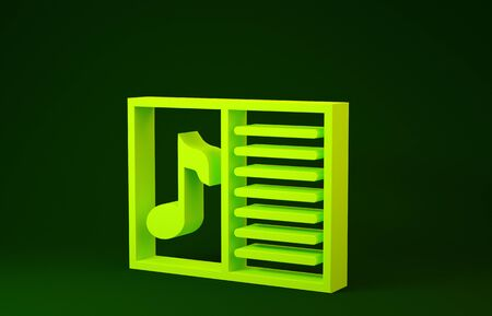 Yellow Music book with note icon isolated on green background. Music sheet with note stave. Notebook for musical notes. Minimalism concept. 3d illustration 3D render