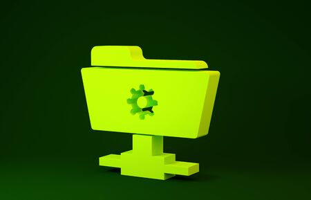 Yellow FTP settings folder icon isolated on green background. Software update, transfer protocol, router, teamwork tool management, copy process. Minimalism concept. 3d illustration 3D render
