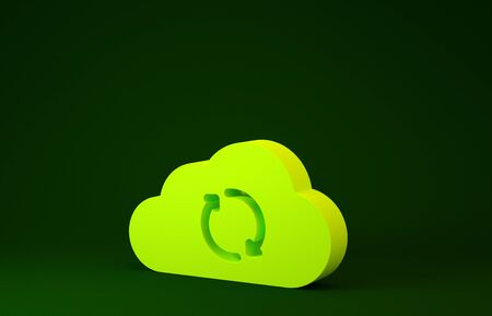 Yellow Cloud sync refresh icon isolated on green background. Cloud and arrows. Minimalism concept. 3d illustration 3D render