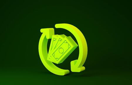 Yellow Refund money icon isolated on green background. Financial services, cash back concept, money refund, return on investment, savings account. Minimalism concept. 3d illustration 3D render
