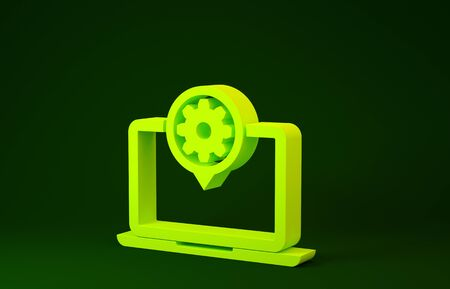 Yellow Laptop and gear icon isolated on green background. Laptop service concept. Adjusting app, setting options, maintenance, repair, fixing. Minimalism concept. 3d illustration 3D render