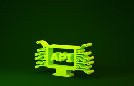 Yellow Computer api interface icon isolated on green background. Application programming interface API technology. Software integration. Minimalism concept. 3d illustration 3D render