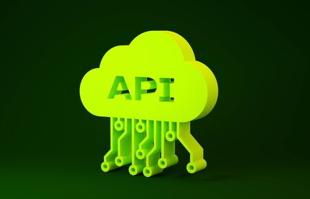 Yellow Cloud api interface icon isolated on green background. Application programming interface API technology. Software integration. Minimalism concept. 3d illustration 3D render