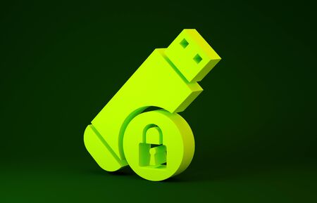 Yellow USB flash drive with closed padlock icon isolated on green background. Security, safety, protection concept. Minimalism concept. 3d illustration 3D render