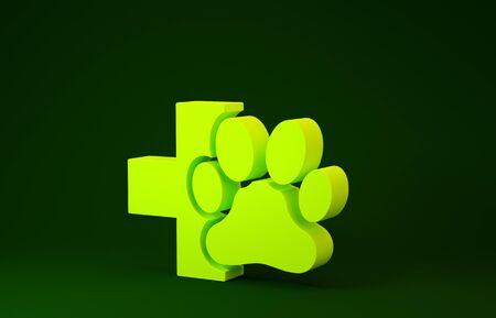 Yellow Veterinary clinic symbol icon isolated on green background. Cross hospital sign. A stylized paw print dog or cat. Pet First Aid sign. Minimalism concept. 3d illustration 3D render Archivio Fotografico