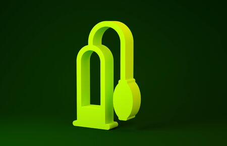 Yellow Penis pump icon isolated on green background. Penis enlarger. Sex toy for men. Vacuum pump with a blower to increase the penis. Minimalism concept. 3d illustration 3D render