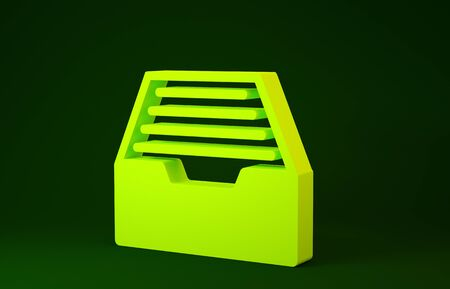 Yellow Drawer with documents icon isolated on green background. Archive papers drawer. File Cabinet Drawer. Office furniture. Minimalism concept. 3d illustration 3D render
