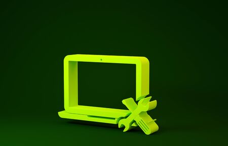 Yellow Laptop with screwdriver and wrench icon isolated on green background. Adjusting, service, setting, maintenance, repair, fixing. Minimalism concept. 3d illustration 3D render