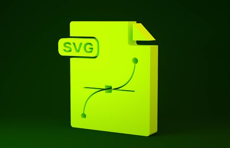 Yellow SVG file document. Download svg button icon isolated on green background. SVG file symbol. Minimalism concept. 3d illustration 3D render Stock Photo