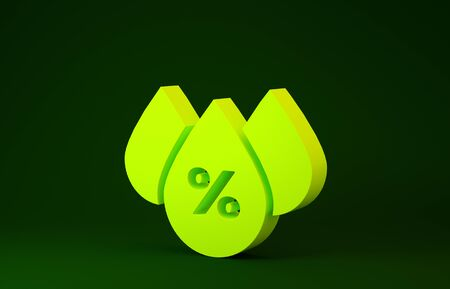 Yellow Water drop percentage icon isolated on green background. Humidity analysis. Minimalism concept. 3d illustration 3D render