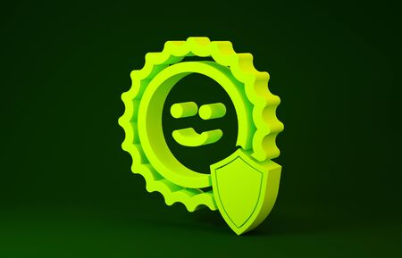 Yellow UV protection icon isolated on green background. Sun and shield. Ultra violet rays radiation. SPF sun sign. Minimalism concept. 3d illustration 3D render