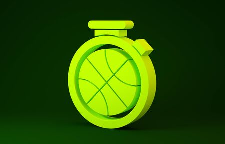 Yellow Stopwatch with basketball ball inside icon isolated on green background. Basketball time. Sport and training. Minimalism concept. 3d illustration 3D render