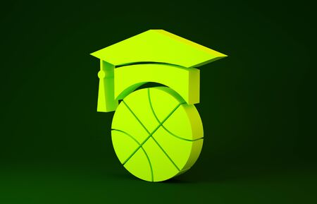 Yellow Basketball training icon isolated on green background. Minimalism concept. 3d illustration 3D render