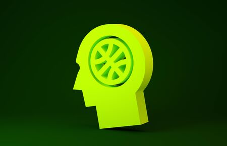 Yellow Thoughts on a basketball icon isolated on green background. Minimalism concept. 3d illustration 3D render
