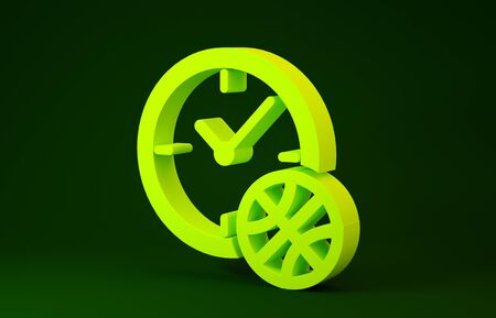 Yellow Clock with basketball ball inside icon isolated on green background. Basketball time. Sport and training. Minimalism concept. 3d illustration 3D render