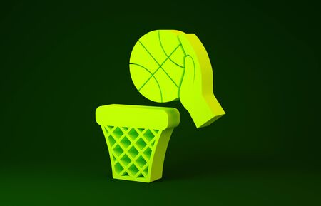 Yellow Hand with basketball ball and basket icon isolated on green background. Ball in basketball hoop. Minimalism concept. 3d illustration 3D render Banco de Imagens