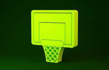 Yellow Basketball backboard icon isolated on green background. Minimalism concept. 3d illustration 3D render Zdjęcie Seryjne