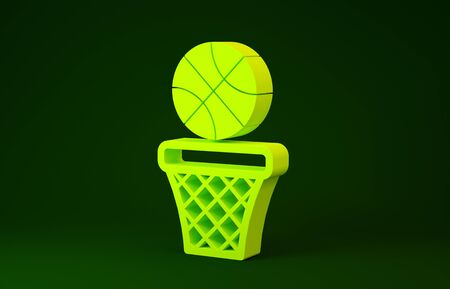 Yellow Basketball ball and basket icon isolated on green background. Ball in basketball hoop. Minimalism concept. 3d illustration 3D render Banco de Imagens