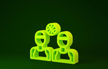 Yellow Basketball players icon isolated on green background. Minimalism concept. 3d illustration 3D render