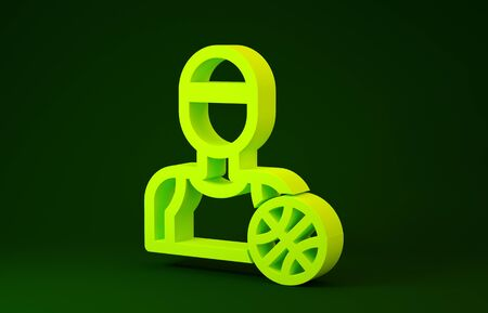 Yellow Basketball player icon isolated on green background. Minimalism concept. 3d illustration 3D render