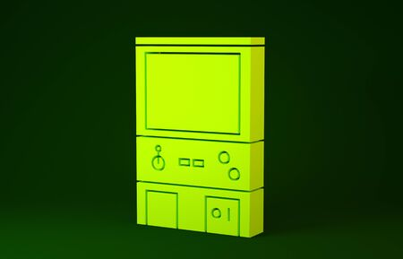 Yellow Retro arcade game machine icon isolated on green background. Minimalism concept. 3d illustration 3D render