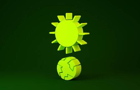 Yellow Solstice icon isolated on green background. Minimalism concept. 3d illustration 3D render