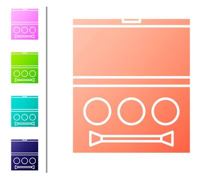 Coral Eye shadow palette with brush icon isolated on white background. Set color icons. Vector Illustration Ilustración de vector